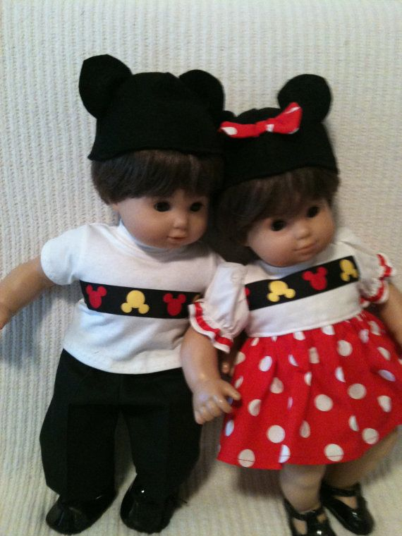15 inch baby doll (Modeled by Bitty Baby twins) Mickey and Minnie ...