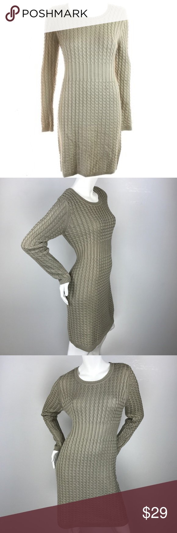 Calvin Klein Petite Khaki Cable-Knit Sweater Dress Calvin Klein ...