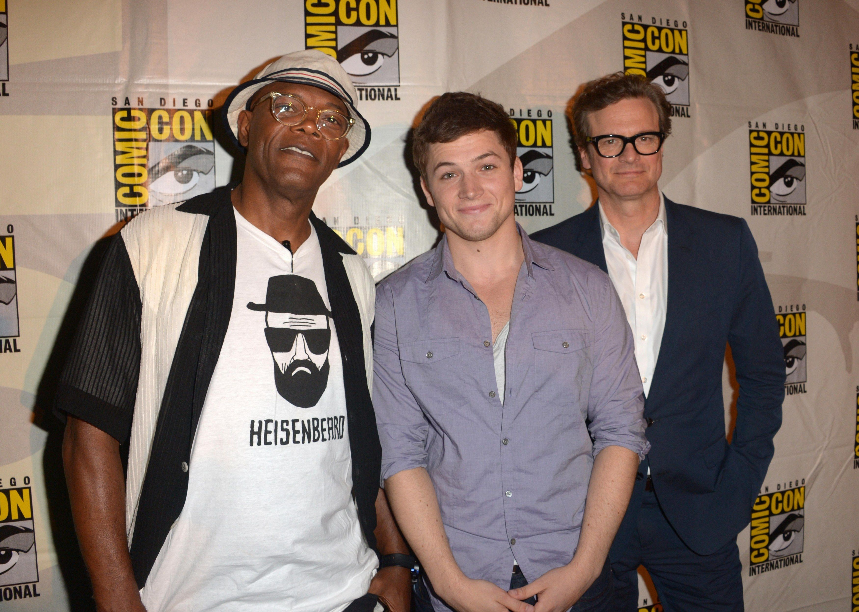 Comic Con 2014 Colin Firth Taron Egerton Sophie: Kingsman: The Secret Serviceu00 /// Colin Firth And Samuel