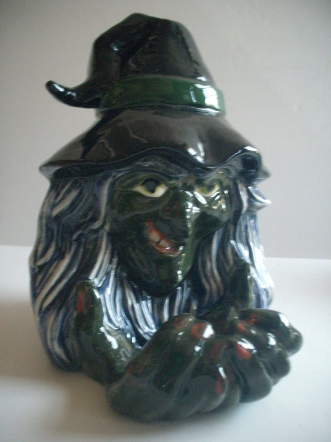 Green witch Halloween decoration witch candy dish Halloween decor - Office Halloween Decor