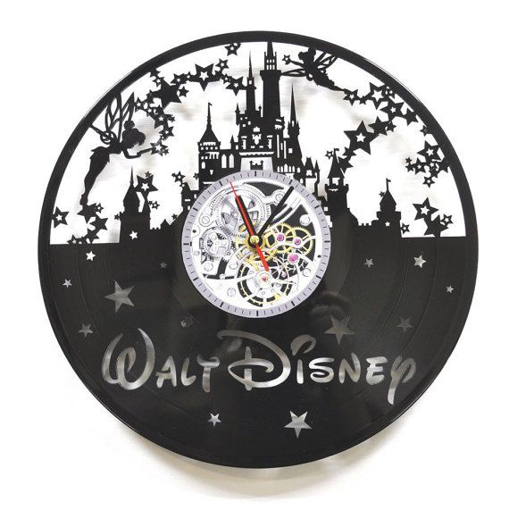 disney vinyl record horloge château disney horloge par vinyra