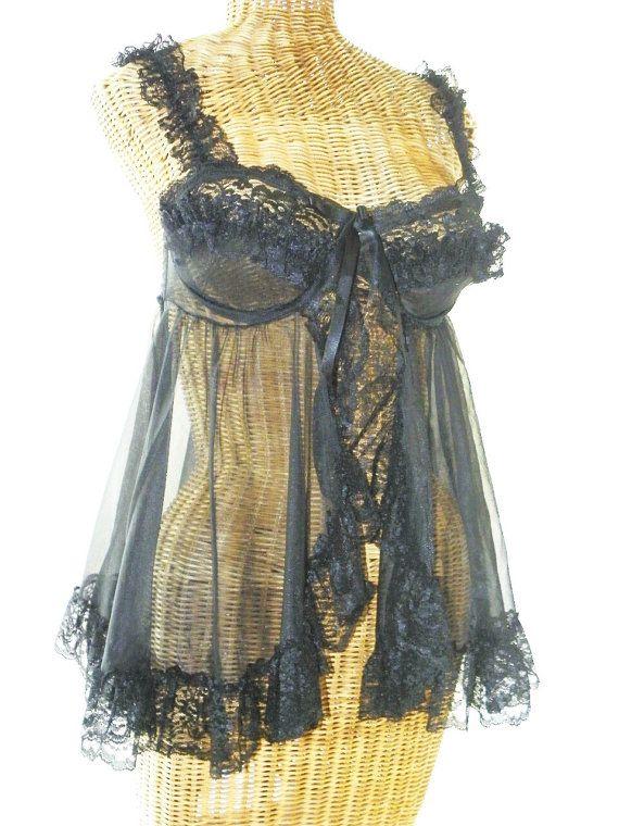 Designer Chiffon Vintage Lace Baby Doll by Voilavintagelingerie, $57.00