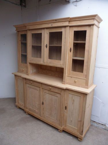 With A Lot Of Help Ebay From England Lovely 2 Piece Antique Pine Breakfront Kitchen Dresser To Paint Or Wax