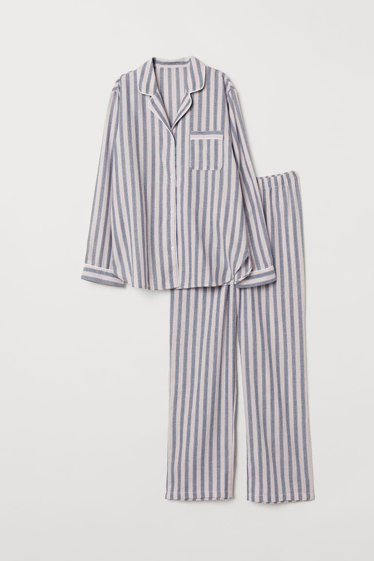 Photo of Pyjamasskjorte og bukser – Rosa / blå stripete – Damer   H&M USA