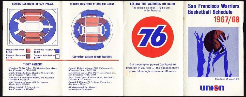 San Francisco Warriors **RARE** 1967/68 Pocket Schedule