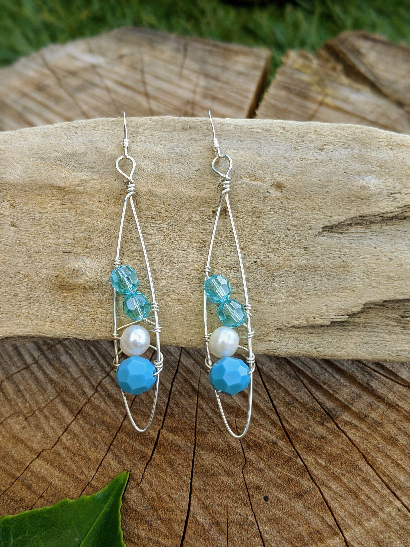 Surfin Crystal Blue Etsy In 2020 Small Drop Earrings Polymer Clay Earrings Purple Pearl