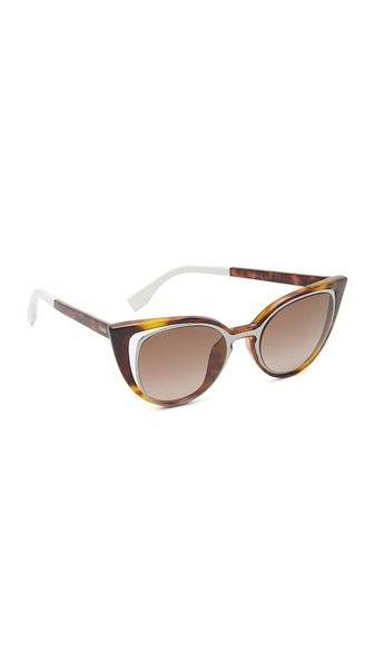 Fendi atrevidas marco y elegantes exterior con Gafas de y de recorte delicados sol ojos gato detalles el en de qTEwX