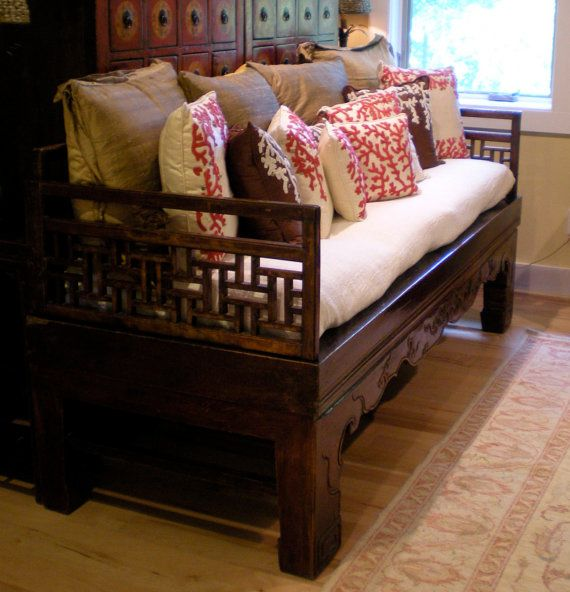 Asian Chinese Antique 1800s Elm Wood Carved Daybed Or Coffee Table From Qing Dynasty Late 19th Century For Living Room