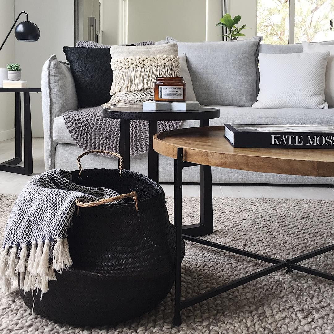 Jute natural rug + light grey couch + wood coffee table ...