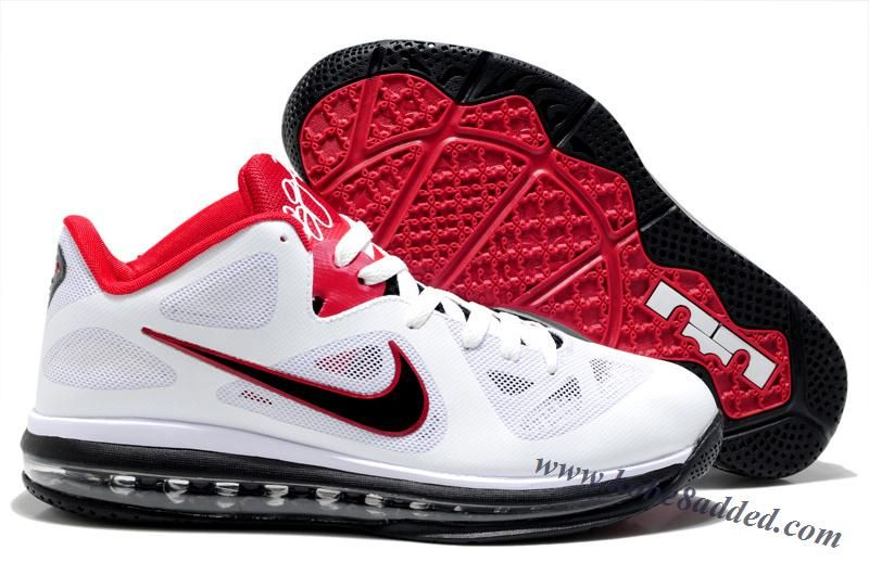 c0bfd4673c55 Nike LeBron 9 Low White Obsidian University Red 510811-101 Men s Basketball  Shoes