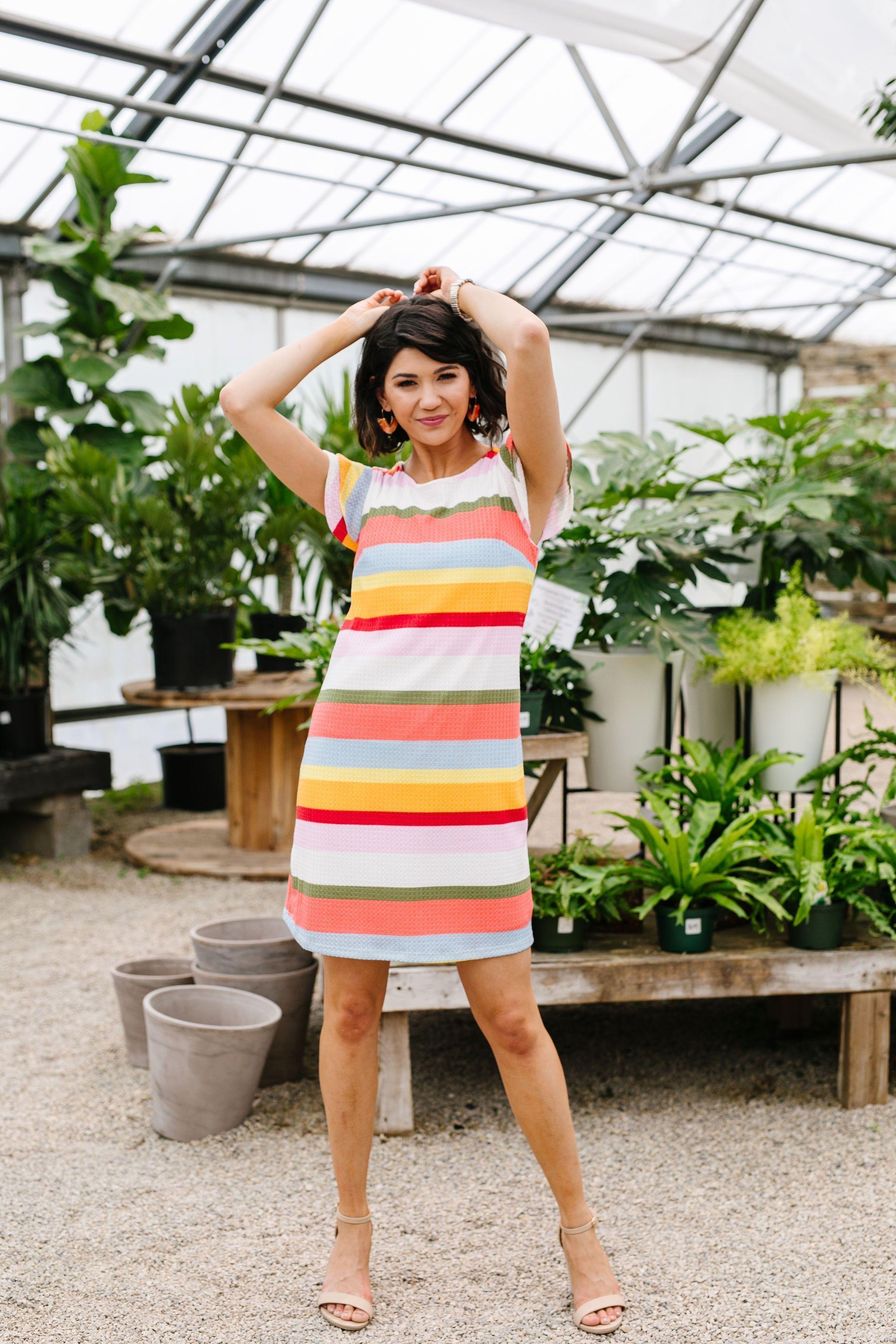 Summer Stripes Waffle Knit Dress Rural Haze In 2021 Knit Dress Striped T Shirt Dress Modest Outfits [ 3072 x 2048 Pixel ]
