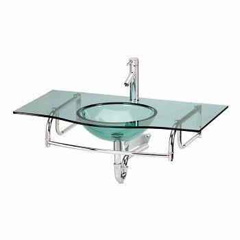 Large Wall Mount Glass Console Sink Combo Package Glass Sink Console Sink Glass Bathroom Sink