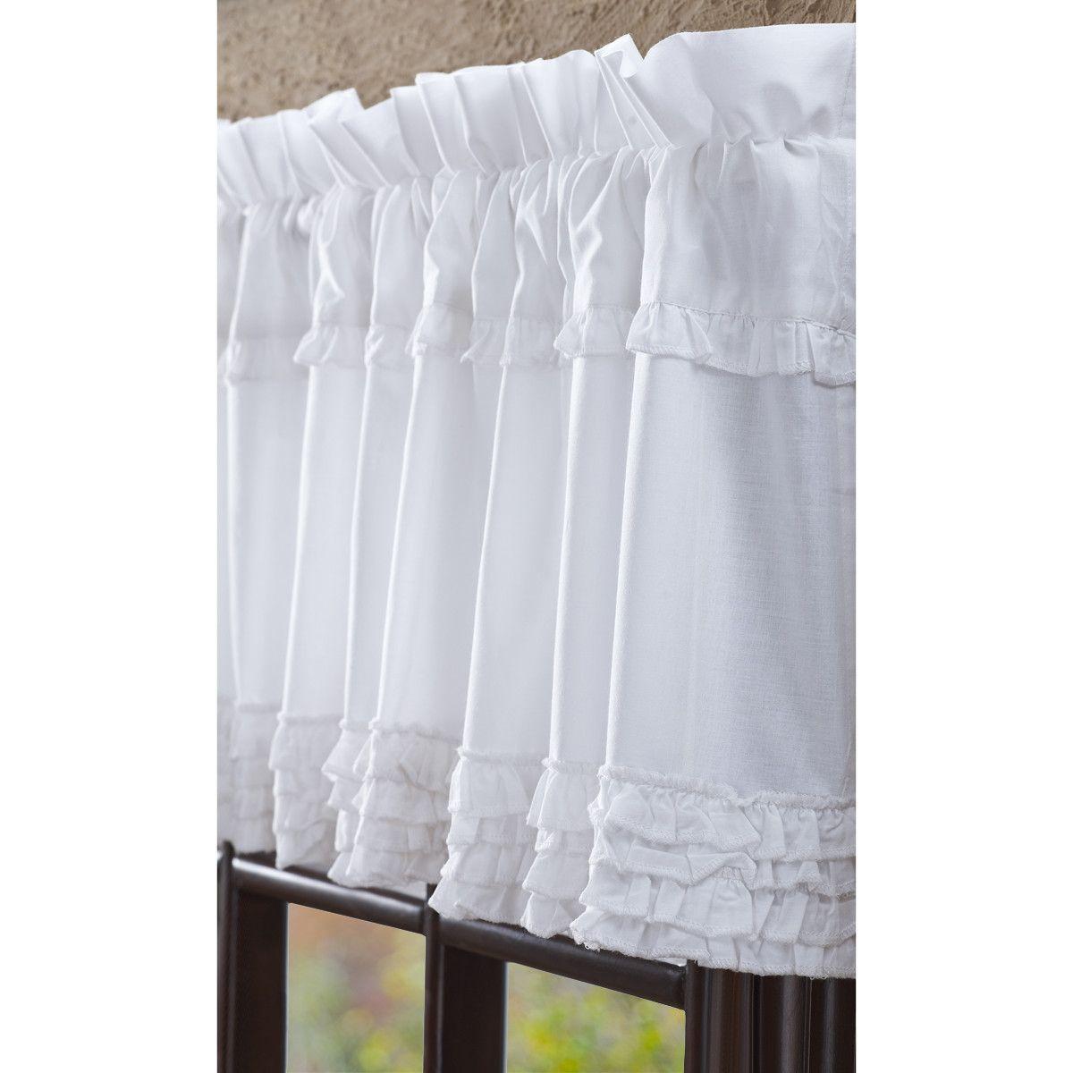 Tende Per Veranda Cucina baldwin white ruffled sheer unlined window valance (con