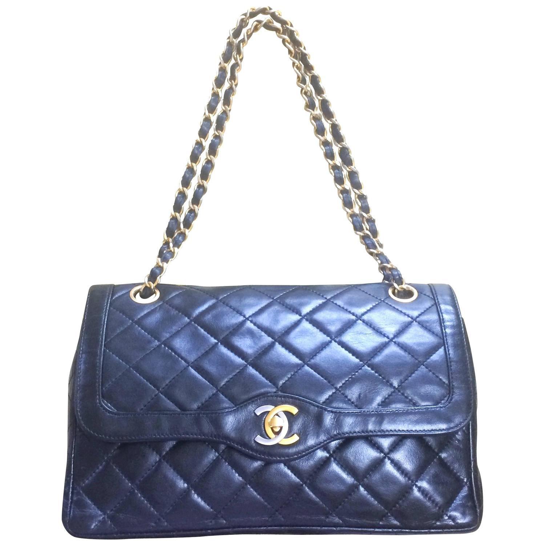 021a1399611c Vintage Chanel black 2.55 double flap shoulder bag. Paris limited edition.    See more