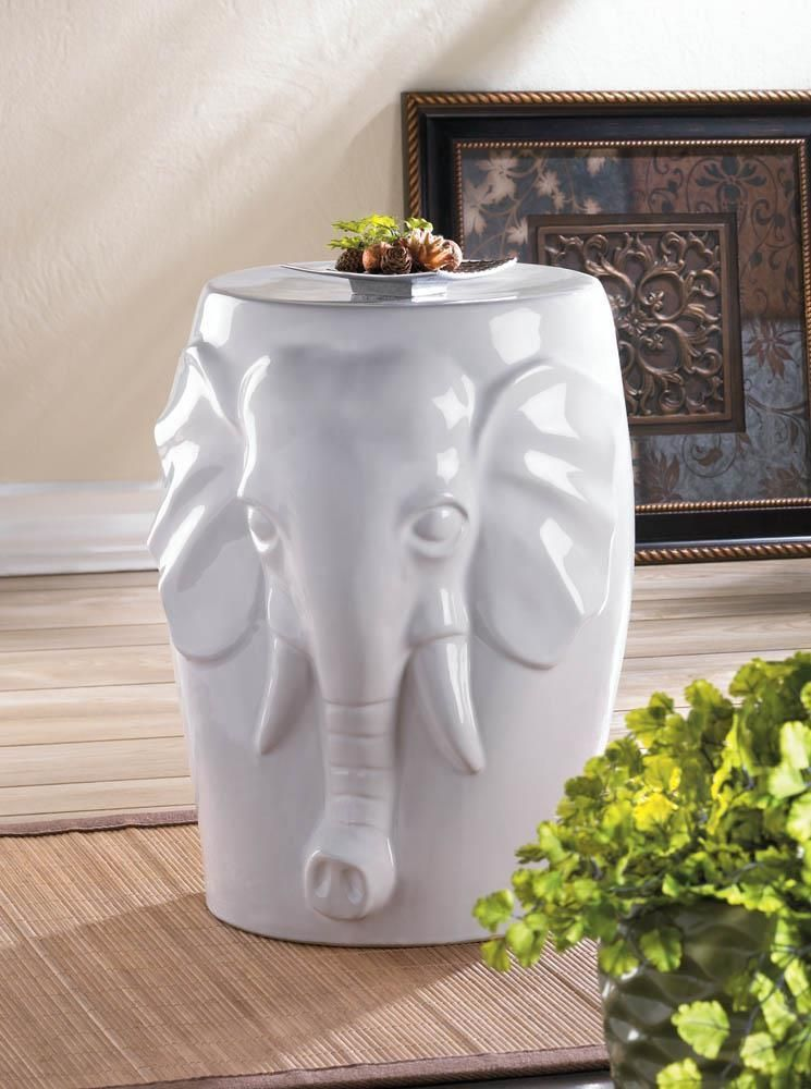 Elephant Ceramic Decorative Stool Accent Table White Indoor/outdoor  ~10016509