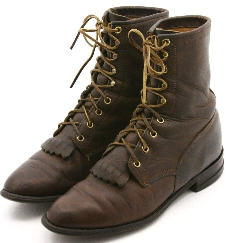 Justin mens cowboy boots size 85 d brown oiled leather
