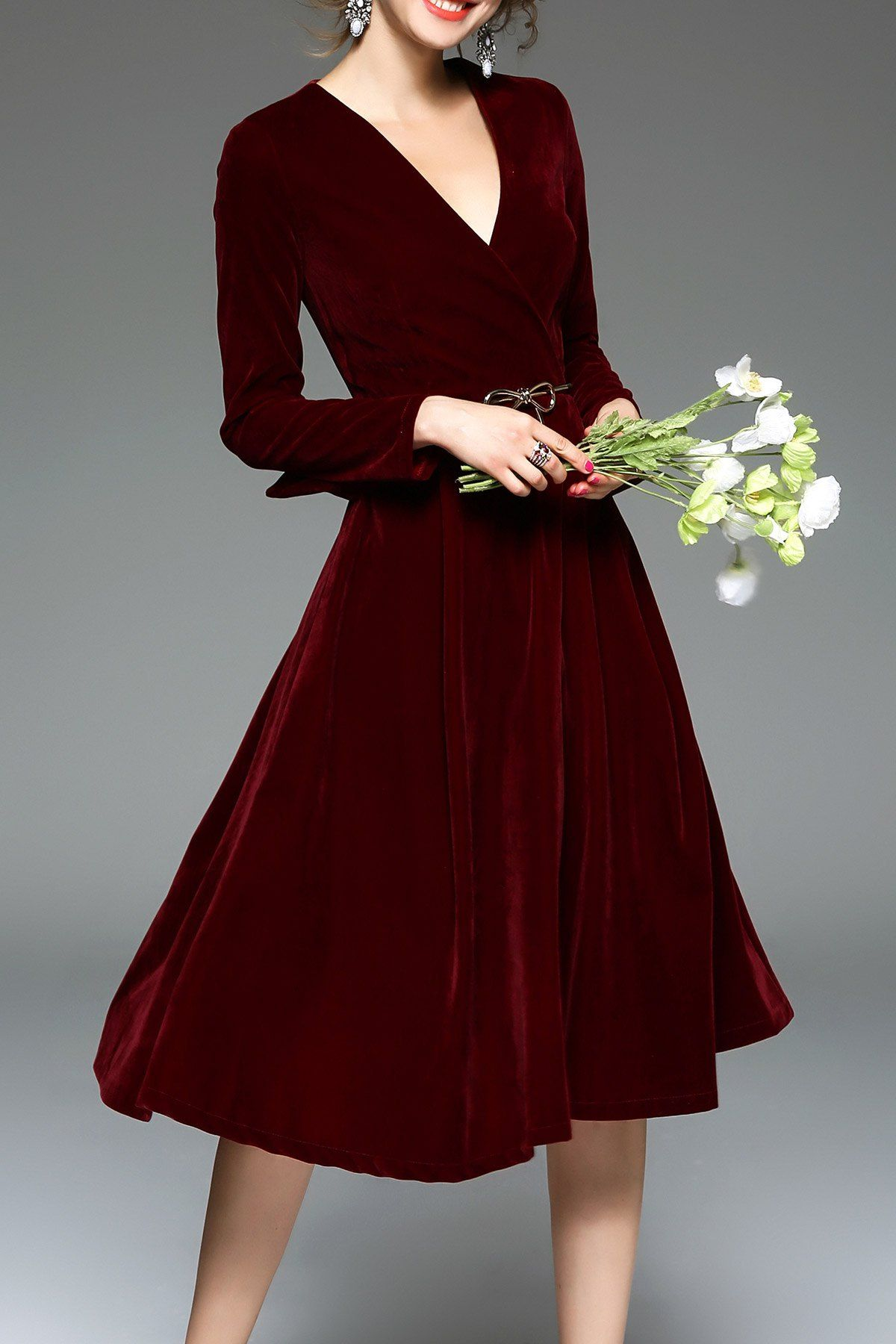 Blueoxy burgundy long sleeve velvet midi dress midi dresses at