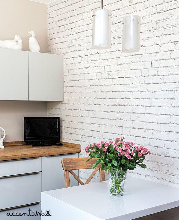 Removable Wallpaper White Brick Modern Clean Look Self Etsy Brick Wallpaper Living Room White Brick Wallpaper Brick Wallpaper Bedroom