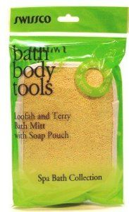 Swissco Loofah Terry Bath Mitt With Soap Pouch 3 Pack Free