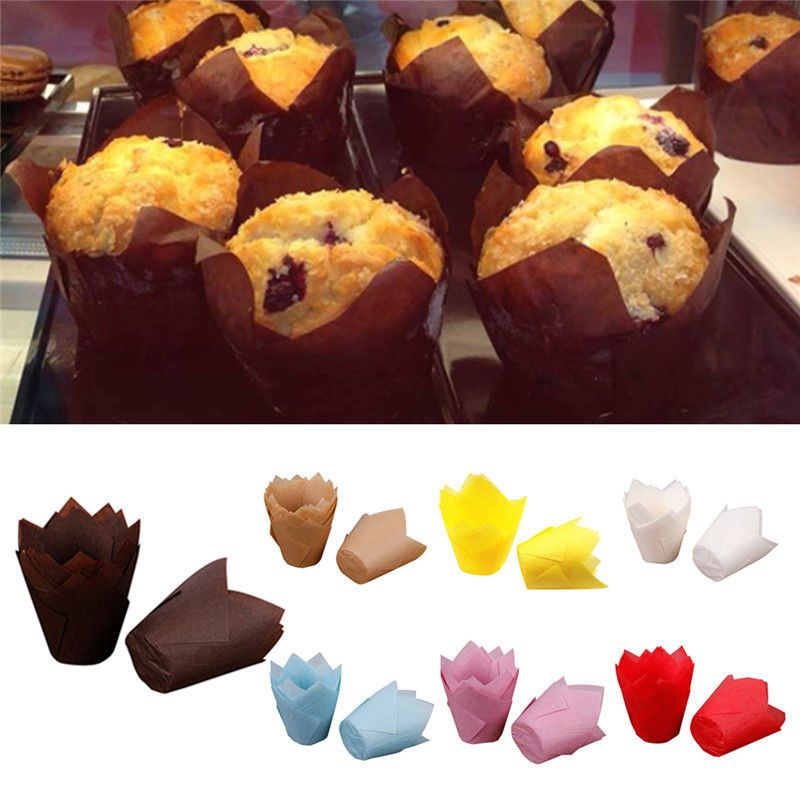 50pcs Temperature Resistance Cake Paper Cup Christmas Tulip Muffin