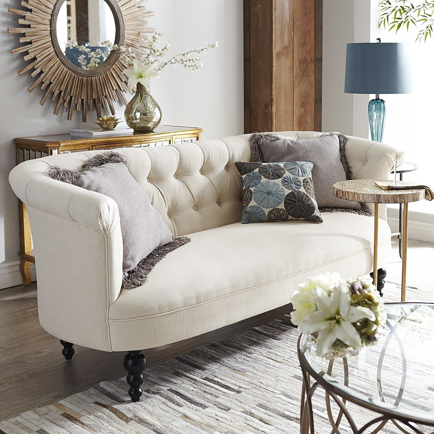 Colette Parchment Ivory Sofa | Chesterfield, Arch and Arms