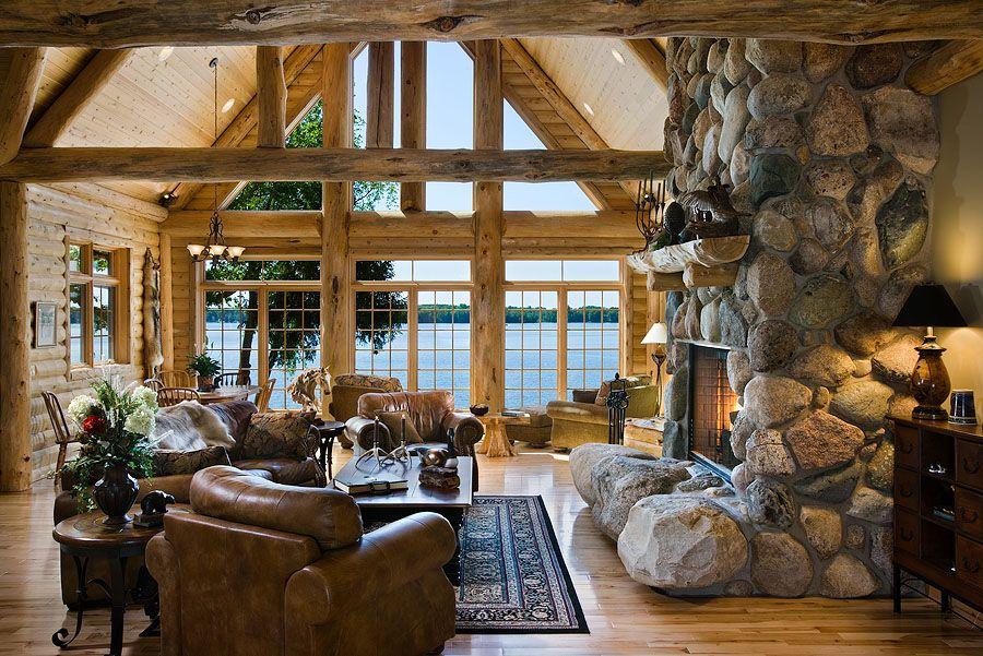 Cozy On A Grand Scale A Lodge Style Log Retreat In Michigan Loghome Com Log Cabin Living Cabin Living Room Cabin Style #rustic #cabin #living #room