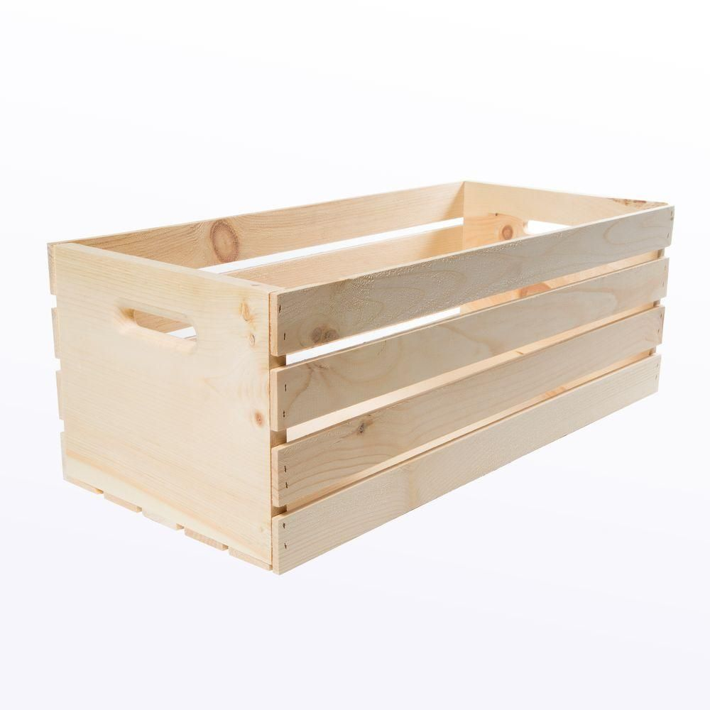 Crates Pallet Crates And Pallet 27 In X 12 5 In X 9 5 In X Large Wood Crate Storage Tote Natural Pine Crate Storage Wood Crates Pallet Crates