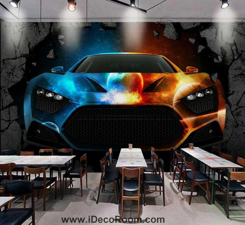 3d Wallpaper Colorful Fancy Car Braking Wall Art Wall Murals