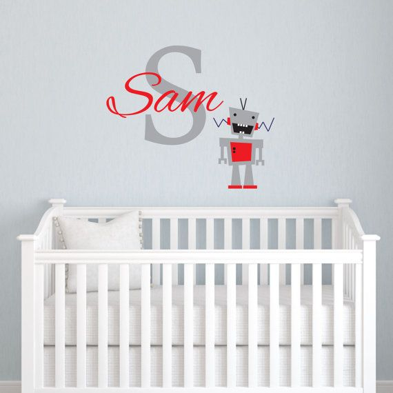Robot Wall Decal for Boys, Children Monogram Wall Sticker, Personalized Vinyl Lettering on Etsy, $28.00