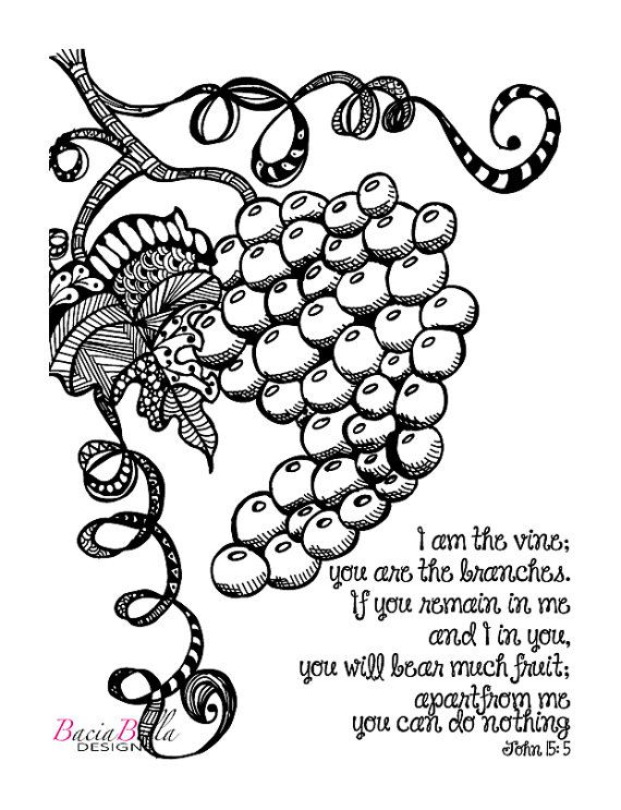 Zen Tangle Grapevine John 155 Adult Coloring Page I Am The Vine You Are Branches Inspirational For Adults
