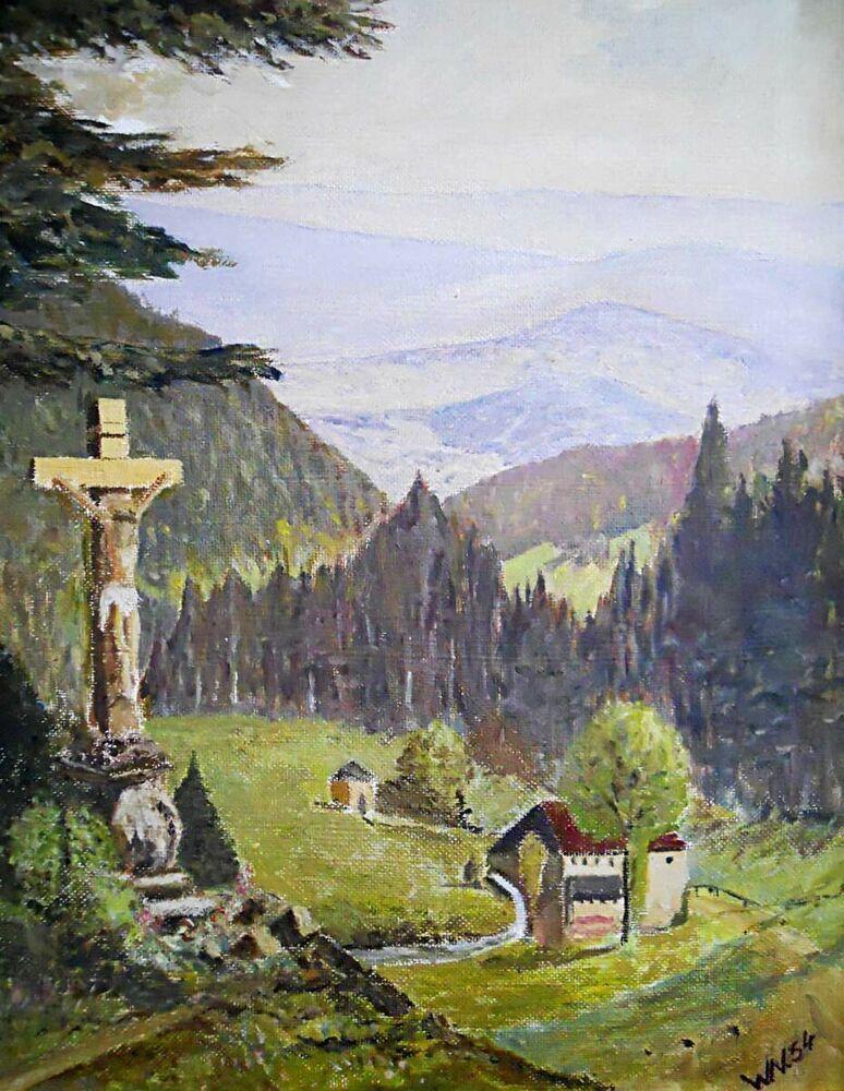 Mountain Wayside Shrine Vintage Painting Folk Western
