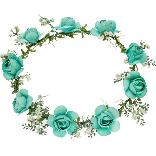 TOPSHOP **Turquoise Flower Hair Garland by Orelia ($46) ❤ liked on Polyvore featuring accessories, hair accessories, hair, headbands, head, turquoise, floral crown, floral garland, headband hair accessories and head wrap headband