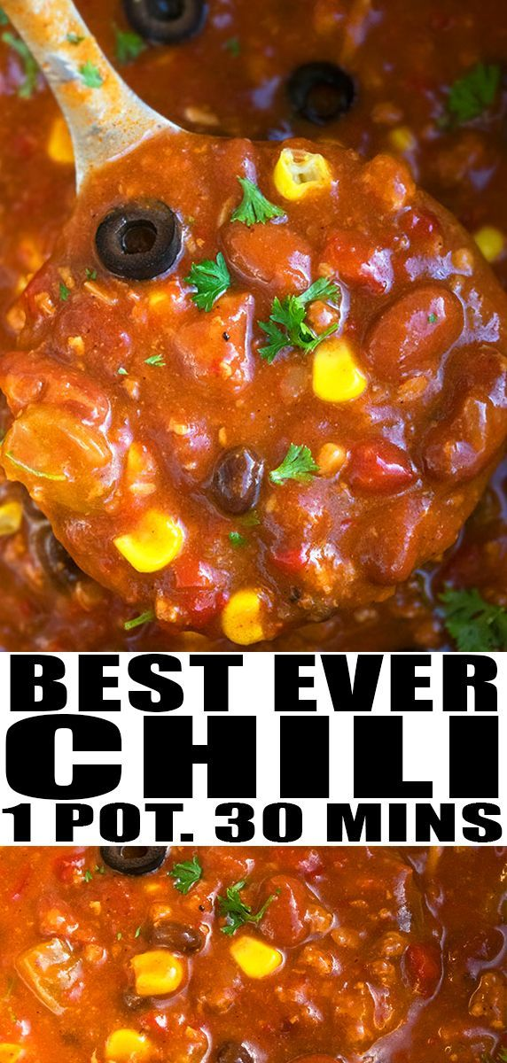 Easy Chili Recipe (One Pot) BEEF CHILI RECIPE- Quick, easy, homemade with simple ingredients in one pot on stovetop. The best 30 minute meal, loaded with spices, ground beef, beans, chiles. Can be made in crockpot/ slow cooker/ instant pot. Can be made with turkey or white chicken. Can be made healthy, vegetarian too. From