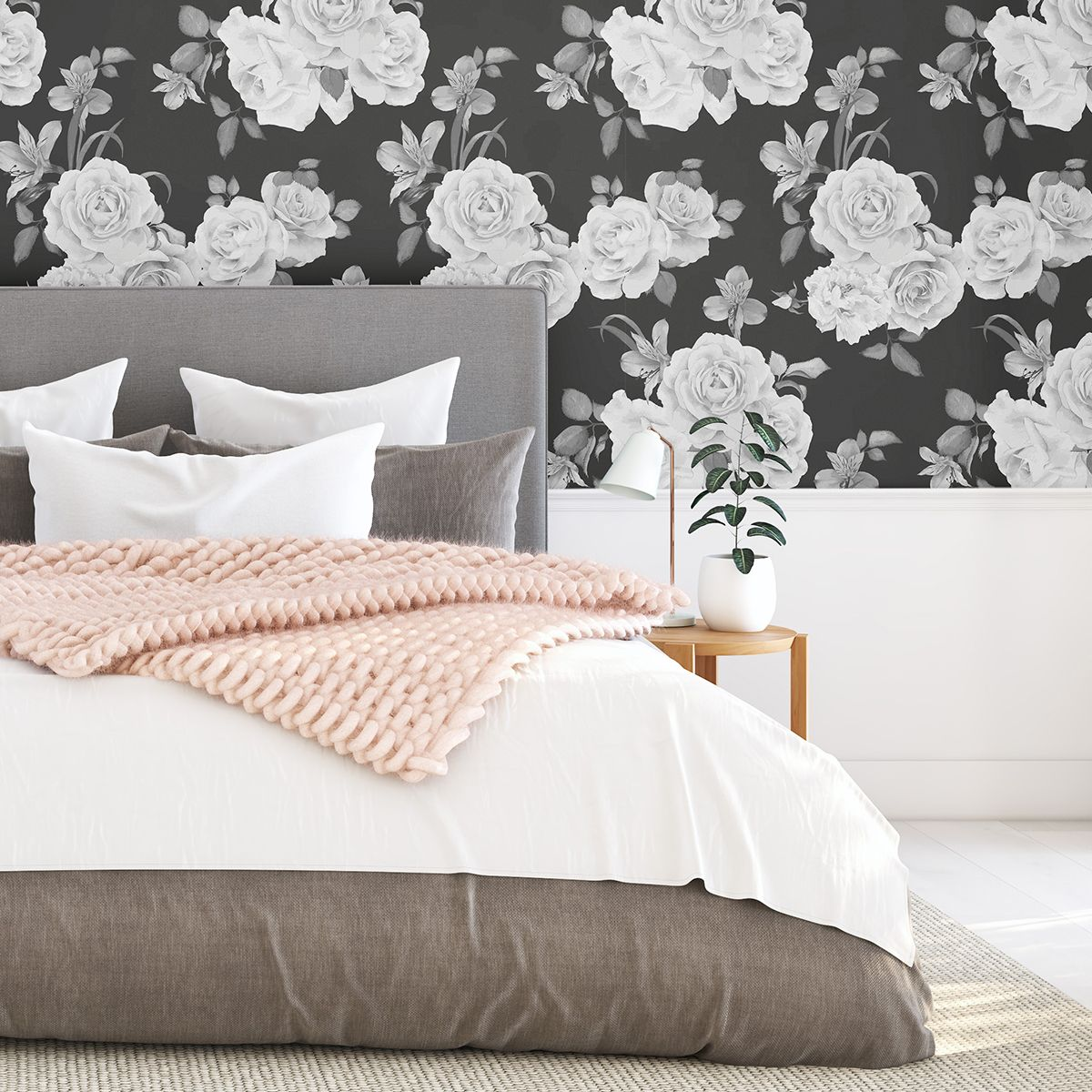 Black and White Floral Fabric Removable Wallpaper 9335 in