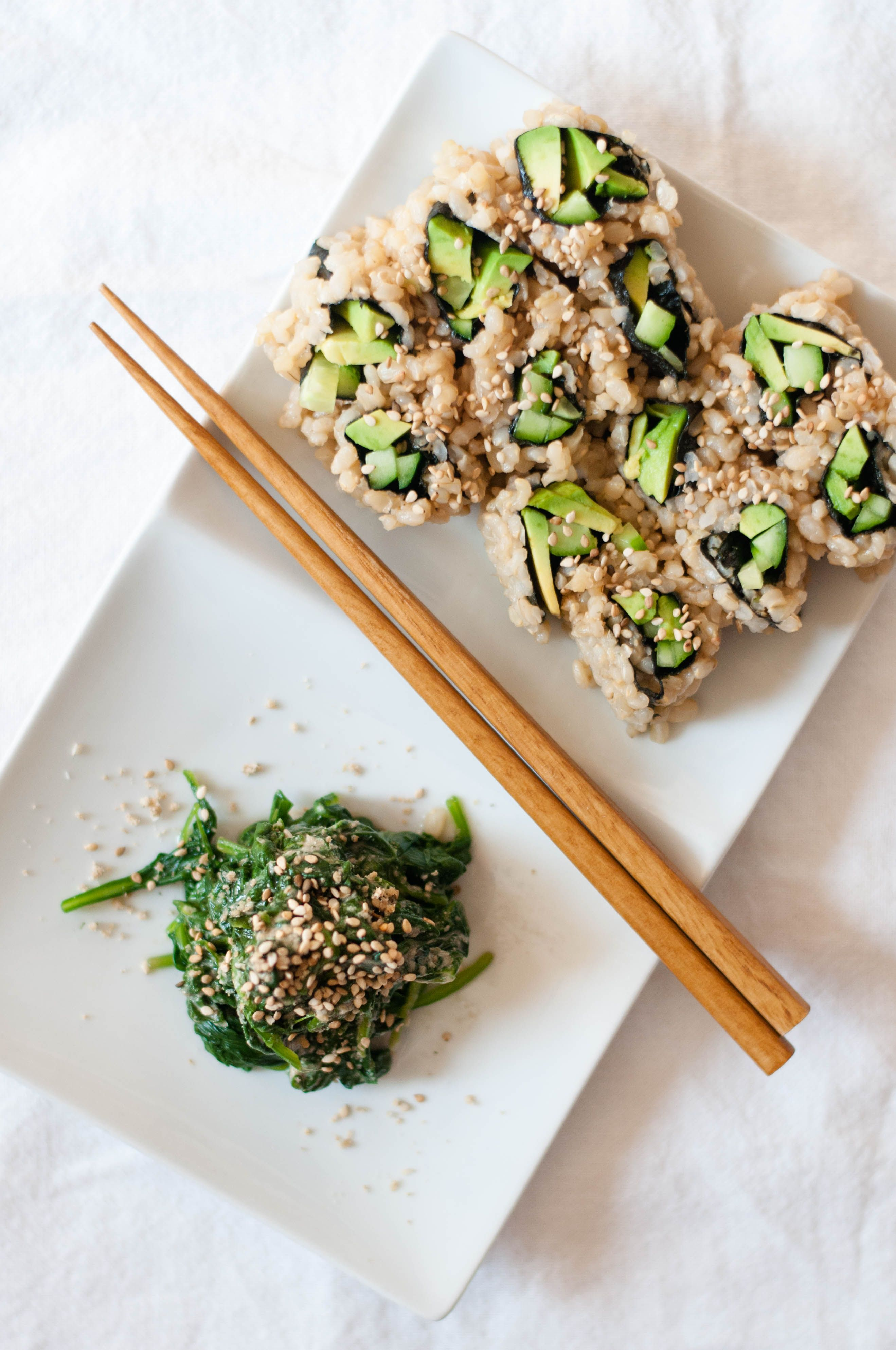 Vegetable sushi roll spinach sesame miso salad goma ae the japanese food forumfinder Images