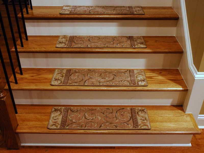 Carpet: Stair Warm Look Stair Design With Mahogany Treads Combine With  Brown Oak Wood Newel Post And Handrail Also White Riser Complete With Brown  Stairs ...