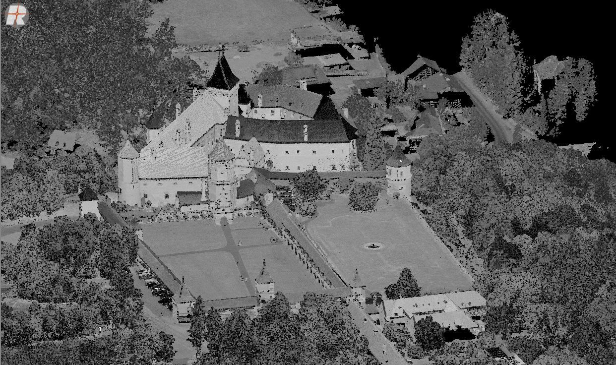 Castle, scanned with the RIEGL RiCOPTER with VUX-SYS remotely piloted unmanned laser scanning system.  Message us for image use.