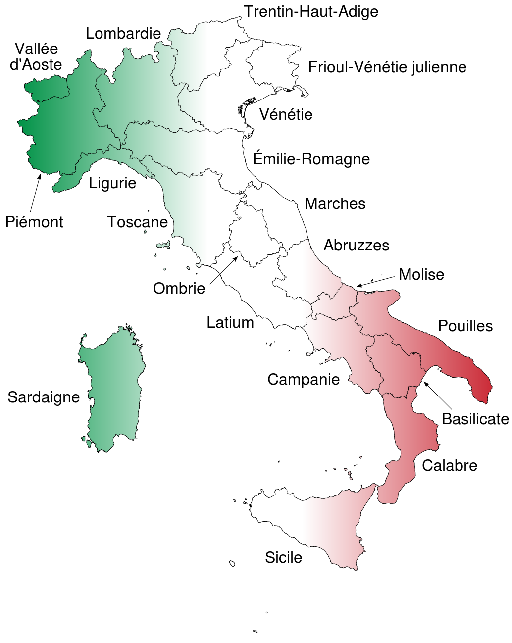 Provincial Map Of Italy.Map Of Regions Of Italy With French Names Maps Regions Of Italy