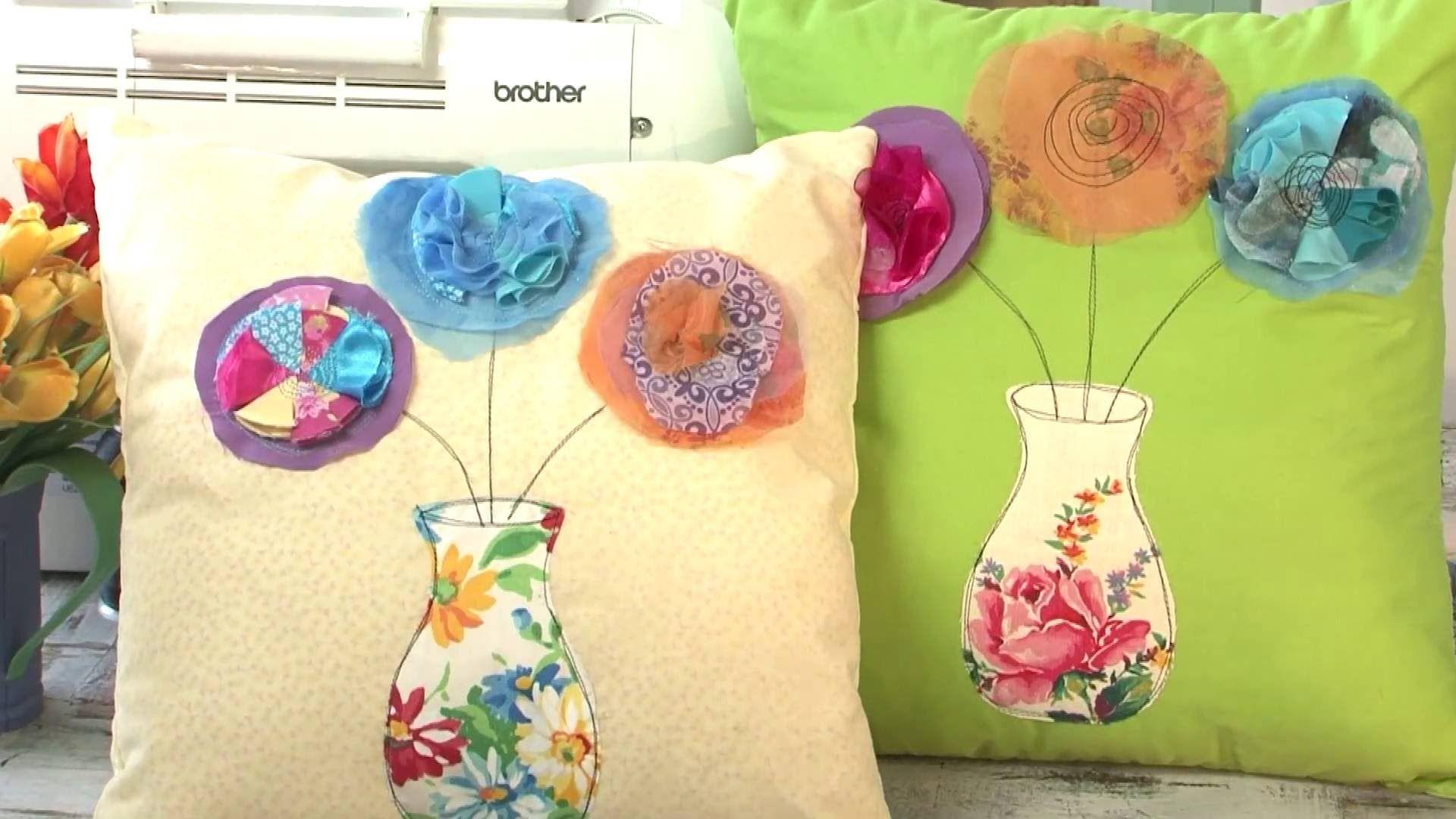 Coser a maquina almohadones - Apliques de Flores - Maquina de Coser Brother