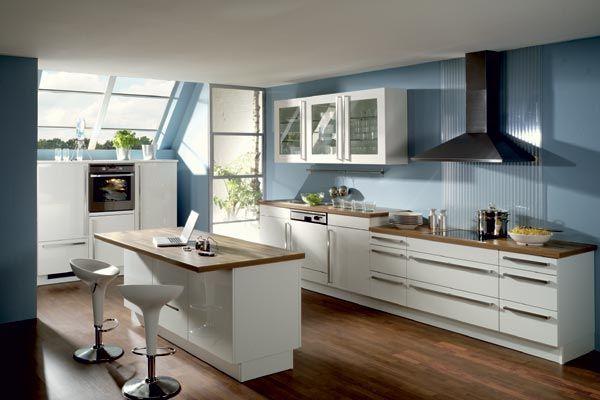 Einfachen-und-erschwingliche-Küchen-Zubehör-Ideen küchen - kuche blaue wande