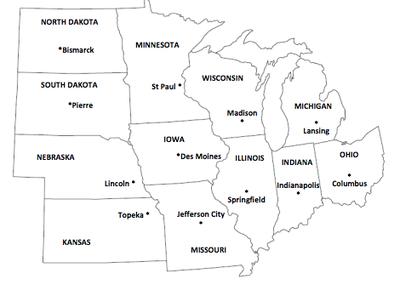 Midwest Region - Mr. L\'s 4th Grade | States, capitals, Us ...