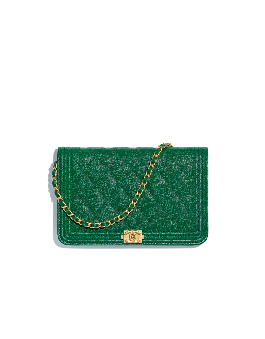 421b8235f80b BOY CHANEL wallet on chain, grained goatskin & gold-tone metal-green -  CHANEL