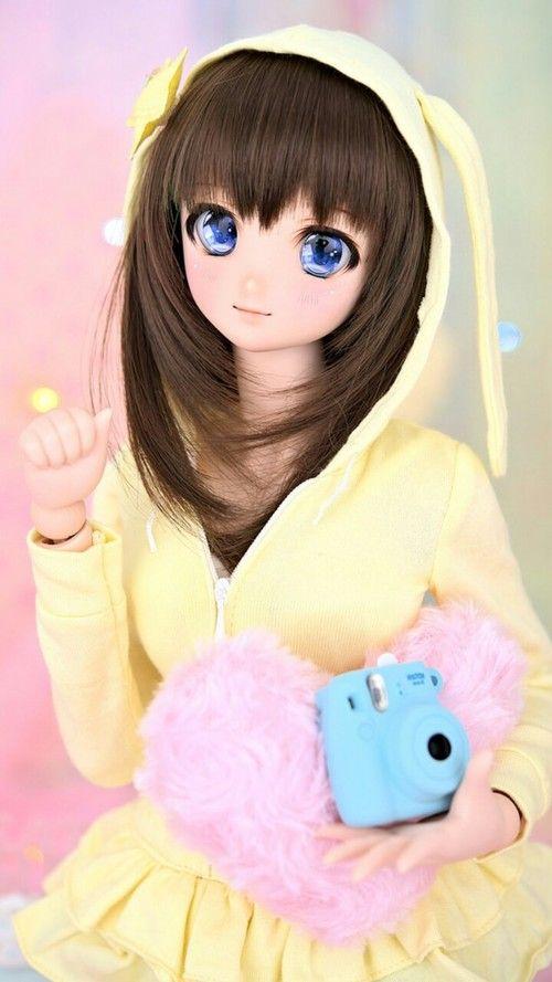 anime, art, baby, baby doll, background, beauty, bjd, design, doll, fashion, girl, hair, kawaii, pastel, pink, still life, sweet lolita, wallpapers, we heart it, pastel hair, pastel pink, pastel color, yellow background, anime style, beautiful doll, beau