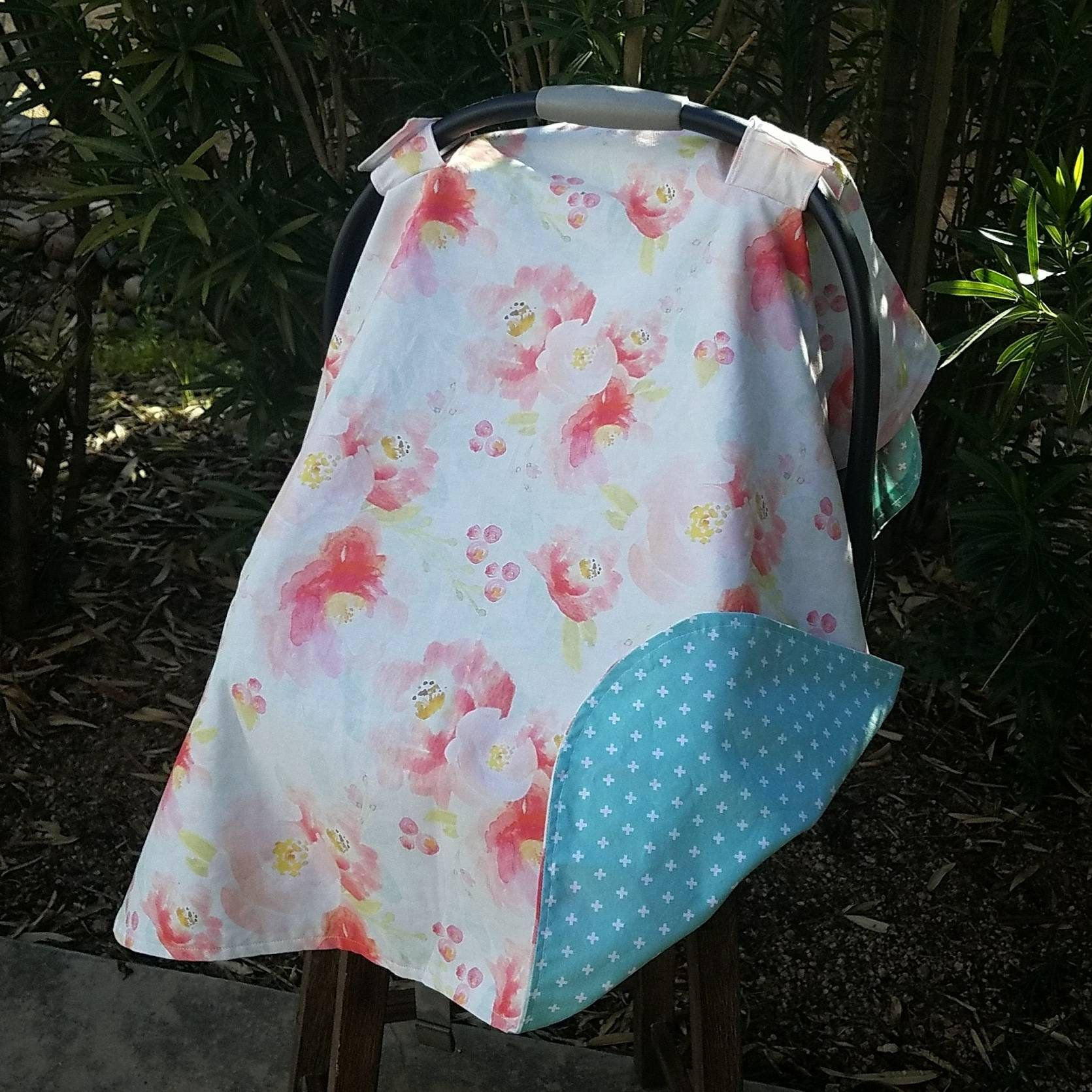 Girls Car Seat Cover - Baby Car Seat Canopy - Watercolor Floral Car ...