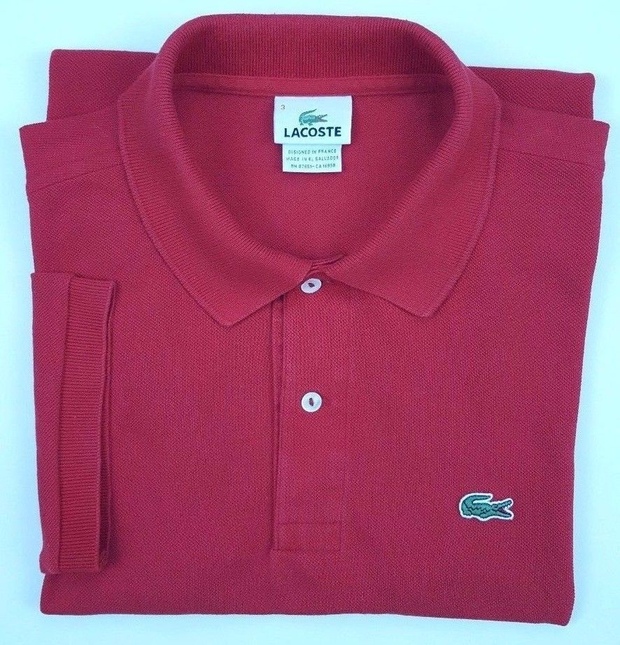 LACOSTE Red POLO Shirt 3 MENS Cotton PIQUE Small SIZE Sz COTTON Gator LOGO Croc* #Lacoste #PoloRugby