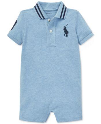 fe958cf2f Polo Ralph Lauren Baby Boys Cotton Mesh Polo Shortall - Jamaica Heather 12  months