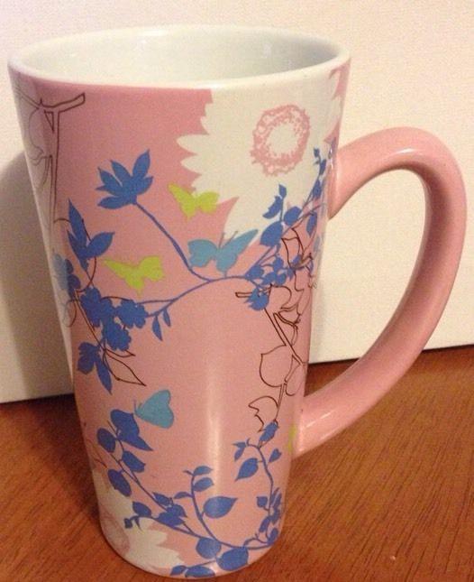Starbucks Tall Latte Mug 2006 Butterflies Flowers Pink 16
