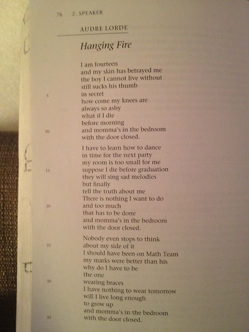 A review of hanging fire a poem by audre lorde