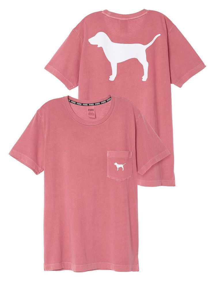 27061974bc575 Victorias Secret Pink Dog Campus Pocket Tee Shirt Top Crewneck ...