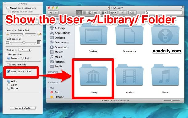 How To Show The Users Library Folder In Mac Os X Mavericks Folders Library Osx